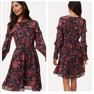 LOFT Ruffle Long Sleeve 'Hydrangea Bouquet' Dress